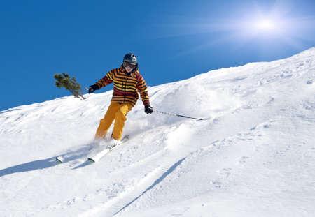 deep powder snow: Young skier