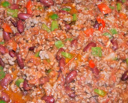 Close up Mexican chili con carne photo