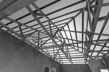steel structure: Structure of steel roof frame for construction.