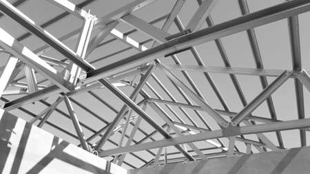 prefabricated house: Structure of steel roof frame for construction.Used for Prefabricated House system.
