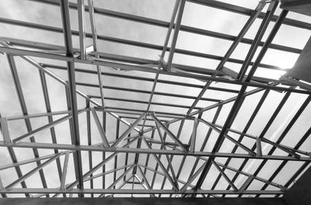 prefabricated: Structure of steel roof frame for construction.Used for Prefabricated House system.