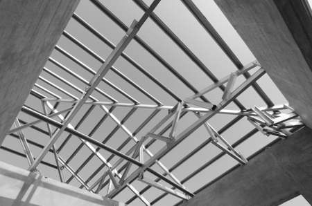 prefabricated building: Structure of steel roof frame for construction. In Black and White.