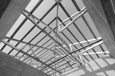 building structure: Structure of steel roof frame for construction. In Black and White.
