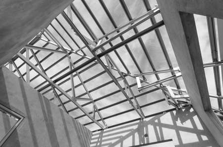 prefabricated: Structure of steel roof frame for construction.In Prefabricated House system. Stock Photo