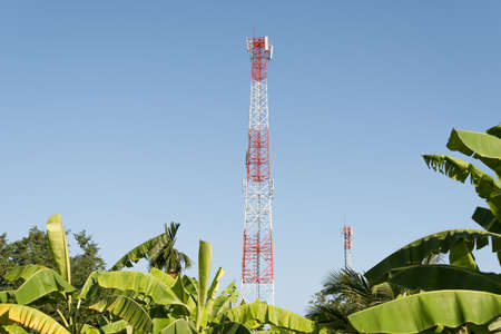 telecommunications industry: Telecommunications antenna for radio, television and Mobile phone in rural Thailand.
