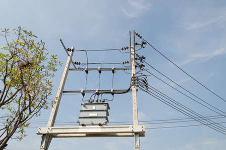 electricity substation: High voltage electric transformer equipment for sending electrical energy.