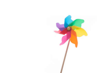 Colorful pinwheel isolated on white with clipping path.