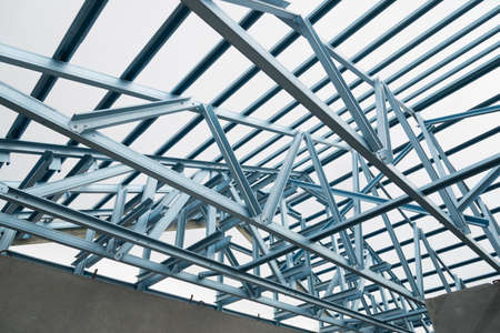 prefabricated building: Structure of steel roof frame for construction.