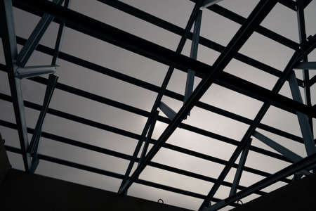 prefabricated house: Structure of steel roof frame for construction.