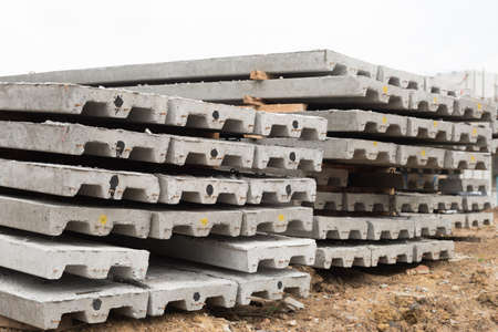 prefabricated building: Prestressed concreat slabs, used for construction job.