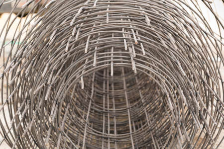 Rolls of wire mesh for use in construction job. Stock Photo