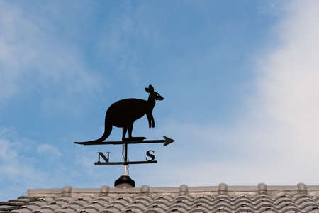 puntos cardinales: Weathervane with kangaroo above an arrow and the four cardinal points North East West South Foto de archivo