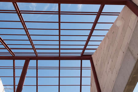 roof framework: Structural steel beam on roof of building residential construction.