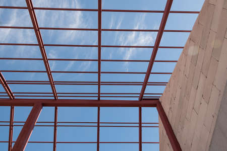 steel beam: Structural steel beam on roof of building residential construction.