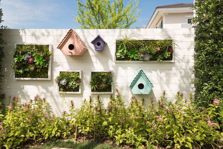 Decorated Wall Vertical Garden Idea In The City. Stock Photo ...