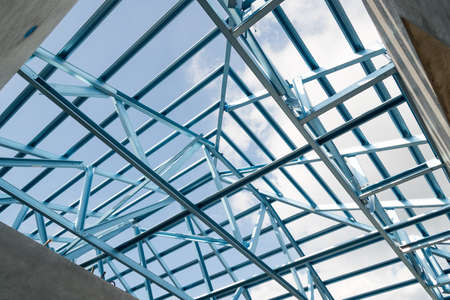 prefabricated building: Structure of steel roof frame for building construction.The advantage of this structure is lightweight but strong.