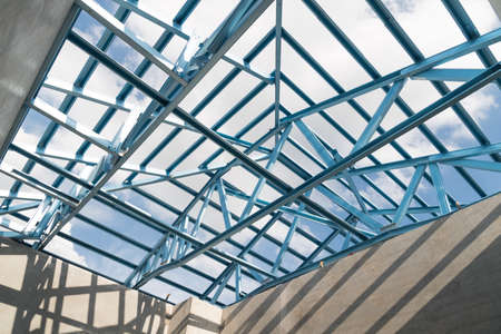 lightweight: Structure of steel roof frame for building construction.The advantage of this structure is lightweight but strong.