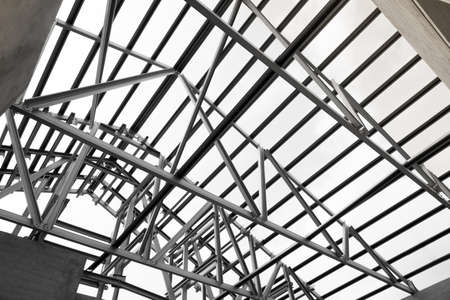 Black And White Photo,Structure Of Steel Roof Frame For Building ...