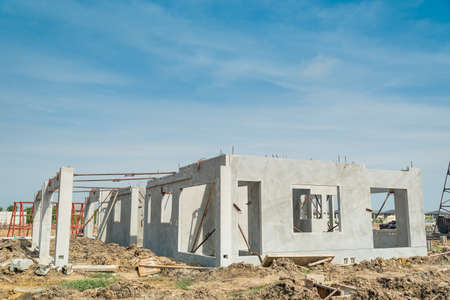 The first floor of  building structure are made from prefabrication system.All pieces are made from high-strength concrete.Then assembled into a building. Stock Photo