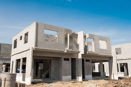 The building structure are made from prefabrication system.All pieces are made from high-strength concrete.Then assembled into a building. Stock Photo