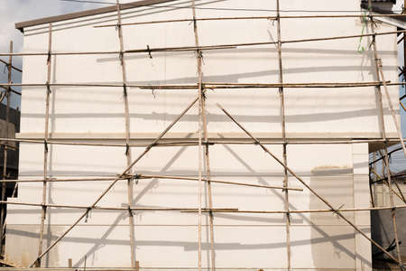 scaffolds: Bamboo Scaffolds for construction job. Its made us easy to climbing onto a parts of the building.