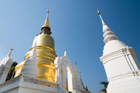 White and Goldden Pagoda in Wat Suan Dok, Chiang Mai Province, Thailand.