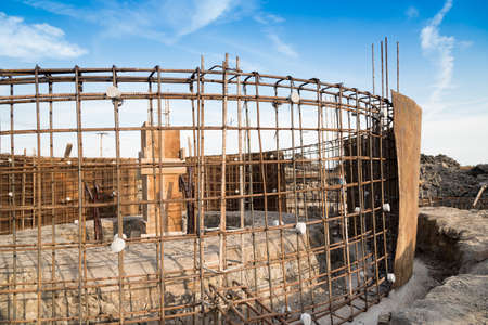 Reinforcing steel bars for building on construction site.