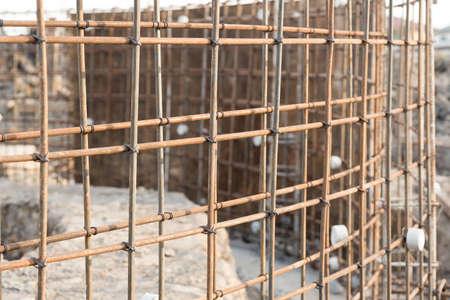 reinforcing: Reinforcing steel bars for building on construction site.