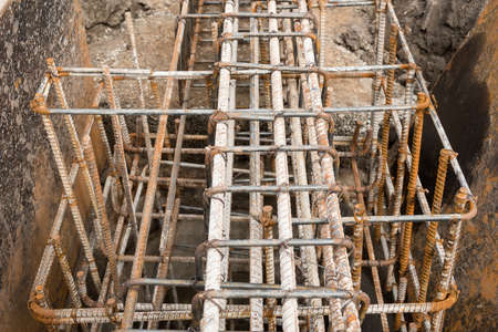 Reinforcement steel bars of beam for building. Stock Photo