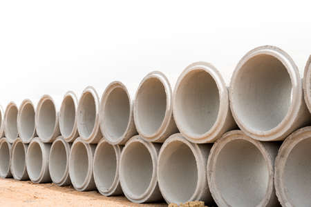 Concrete drainage pipes for industrial building construction.Isolated on white background Stock Photo