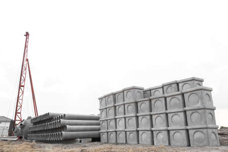 culvert: Stack of materials for construction in workplace.