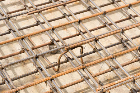 construction project: Reinforcement metal framework for concrete pouring. Ready for filling up with concrete.
