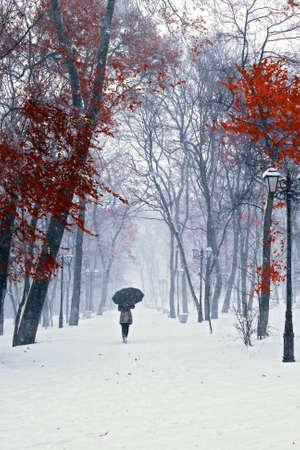Snow walking 스톡 콘텐츠