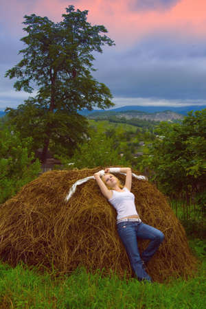 tank top: Girl and stack of hay