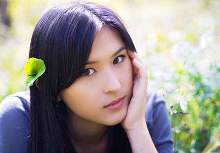 Portret van Aziatische meisje Stockfoto