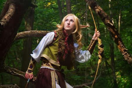 Elf hält einen Bogen mit einem Pfeil Standard-Bild - 12053252