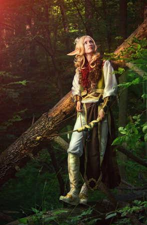 maquillaje de fantasia: Elfo del bosque Foto de archivo