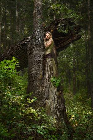 마법의 숲에서 금발 소녀 스톡 콘텐츠 - 12322673