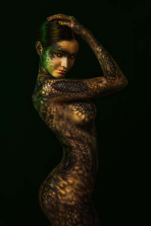 Brunette woman with body art