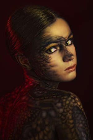 serpents: Brunette woman with body art