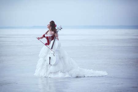 cellos: Beautiful brunette in a dress