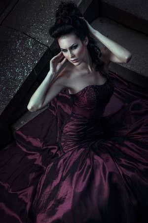 beautiful vampire: Beautiful woman in violet dress
