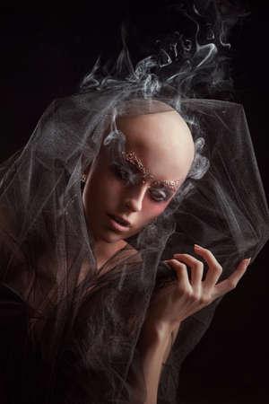 Baldhead vrouw Stockfoto