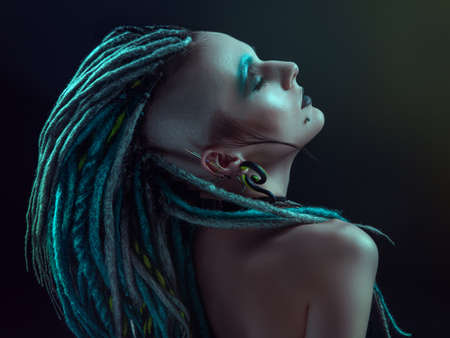 cyber woman: Young woman with dreadlocks