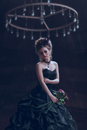25110135 - Mysterious woman dressed in gothic dress posing in ruined  building fdf48d492