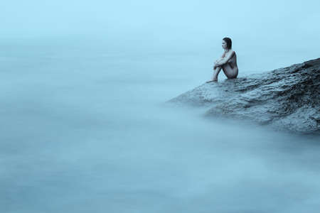 nude nature: Young nude woman in the sea