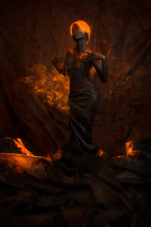 dark skinned: Portrait of a beautiful woman with body painting Stock Photo