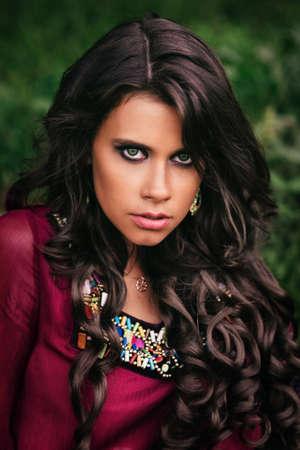 gypsy: Portrait of a beautiful girl gypsy with green eyes