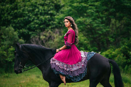 woman and horse: Beautiful woman on a horse dressed in long violet dress Stock Photo