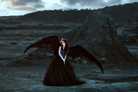 demonic: Pretty girl-demon with black wings behind her back